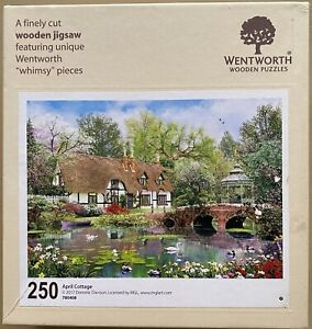 """WENTWORTH """"April Cottage"""" 250 piece Wooden JIGSAW PUZZLE Whimsy"""