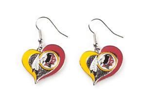 Washington Redskins NFL Silver Swirl Heart Dangle Earrings