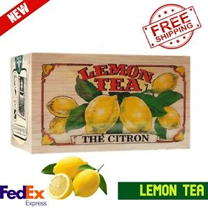 Pure Ceylon Tea Lemon Flavored Herbal 100g Natural Black Loose Leaf Wooden Box
