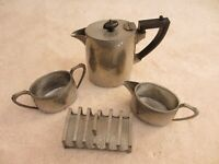 Vintage English Pewter ~ Four Piece Coffee Set ~ Hand hammered Art Deco Design