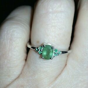 WOW WOW ~ Genuine 100% 0.47ct Luhlaza Emerald Sterling Silver Ring Size L - M