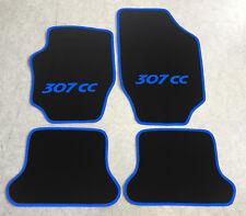 Autoteppiche Fußmatten für Peugeot 307cc Cabrio schwarz blau 2003-08 4teilig Neu