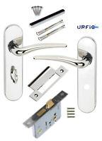 Polished Nickel Lever Bathroom Door Handle Set +64mm Lock URFIC YORKSHIRE 174mm