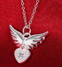 Plata esterlina 925 Alas de ángel en corazón colgante collar 45 cm cadena vendedor del Reino Unido