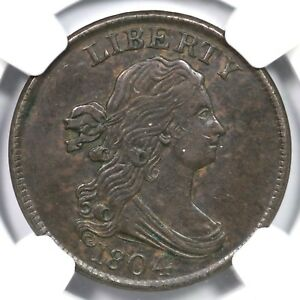 1804 C-9 NGC AU 53 Cross 4 w/ Stems Draped Bust Half Cent Coin 1/2c