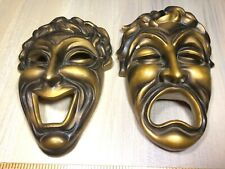 Vtg ARCO Fine Quality Gold Mask Faces Wall Hanging Collectible Decor
