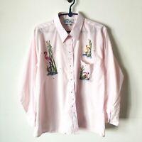 VTG Flamingo Bling 1980's LAS OLAS Women's Button Up Pink Shirt Size XL