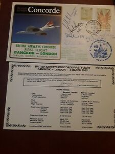 1985 CONCORDE FIRST FLIGHT BANGKOK - LONDON CAPTS & CREW  SIGNED COVER