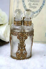 Antique Baccarat Ormolu & Crystal 4 Bottle Perfume Caddy Bronze French Glass Set