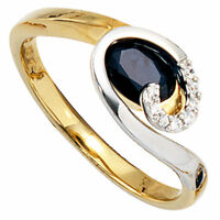 Ring Damenring, Safir & 8 Diamanten Brillanten, 585 Gold gelb weiß, Goldring