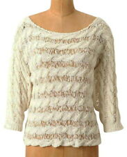 Anthropologie Tape Yarn Pullover Small 2 4 Ivory Top Moth Cable Like Stripes