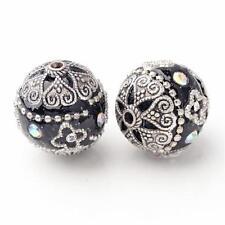 Indonesien Perlen 20mm Metall Strass Verzierung Schwarz Perlen (2293)