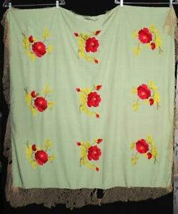 """VINTAGE 1920'S GREEN SILK PIANO SHAWL WITH RED ROSE FLORAL EMBROIDERY 48"""" X 48"""""""