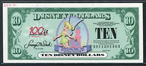 USA 2002 100 Year of magic 10 Disney Dollars,Disneyland UNC w/Graffiti on the fo