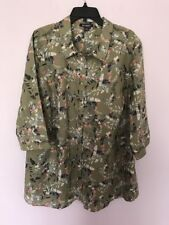 Roamans Plus Size 28W Olive Green  Button Down Shirt Blouse  Top New