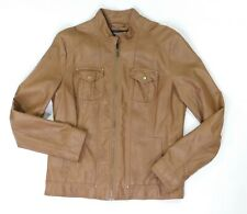 55e51e0dfaf67 New ListingWomens Style   Co Jacket Size S Solid Brown Bomber Faux Leather