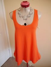 METALICUS Bright Orange TOP One Size 10 12 BNWT NEW Tank Stretch Travel S/Less