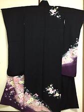 Vintage Japanese Silk Kimono Dress FURISODE, Cherry Blossom, Sakura, Black K835