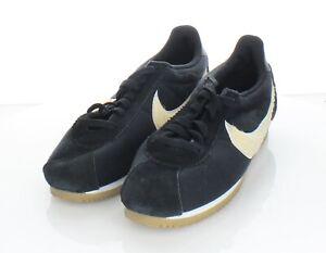 E6 NEW $90 Women's Sz 9.5 M Nike Classic Cortez Textile Lace Up Sneaker In Black
