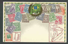 Ca 1908 Brazil 1906 Stamp Set Portrayed On Mint Card W/Map & Coat Of Arms