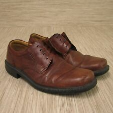 Ecco Helsinki Brown Leather Lace Up Bicycle Toe Shoes Men's Size EUR 43 US 10