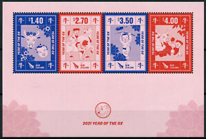 New Zealand NZ Year of Ox Stamps 2021 MNH Chinese Lunar New Year 4v M/S
