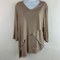 Chicos Travelers 2 Womens Top V neck 3/4 Sleeve Knit Blouse Tiered Asymmetrical