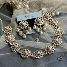 Drop Earrings Encrusted with Swarovski Crystal and pearls indian jewellery Party