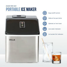 Stainless Steel Ice Maker Portable LCD Display Large Capacity w/ Button, Black