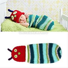 Newborn Baby Crochet Knit Caterpillar Costume Photo Photography Prop Hat Outfits