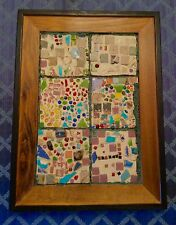 "Excellent Vintage Mid Century Modern Tile Artwork Picture Framed~25"" x 18.5"" EUC"