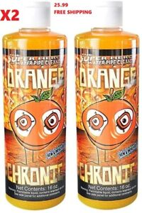 Orange Chronic Cleaner 16 oz Glass Pipe Cleaner Pack Of 2 Free Shipping