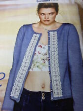 Knitting Pattern-Cardigan  With Lace Trim In Rowan Wool/ Cotton 4ply-32-50in