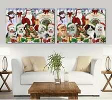 Christmas Dog Cat House Gathering Pet Photo Canvas Print Wall Art Decor