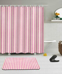 "72/79"" White & Pink Stripe Shower Curtain Bathroom Mat Set Waterproof Fabric 658"