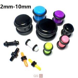 Acrylic Straight Ear Plugs Flesh Tunnel Ear Stretcher Expander Stretching Kit