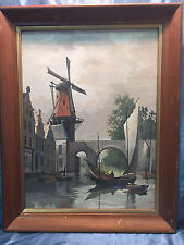 Vintage Paint by Number Oil Painting Windmill Bridge Boat