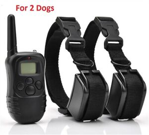 2 Pet Dog Training Collar Shock Electric LCD Remote Control Waterproof 330 Yards