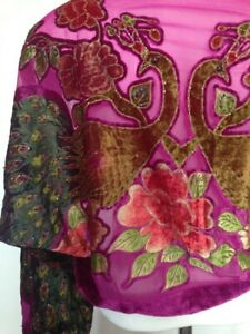 vintage handmade velvet kimono jacketcerise pink one size beaded