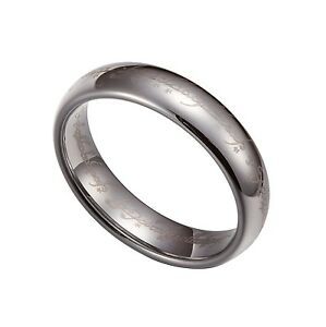 Silver Tungsten Carbide 5mm Lord Of The Rings Band Plain Size 5-12 TG025