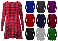 WOMENS RED TARTAN CHECK LONG SLEEVE PLUS SIZE FLARED SWING SKATER DRESS 8-22