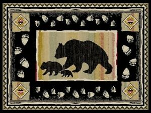 4X6 Lodge Cabin Bear Paw Black Beige Red Southwestern Cubs Area Throw Rug New