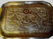 VINTAGE CARVED WOODEN PIN TRAY,SIGNED JAPANESE CARVED TREES (ref37)