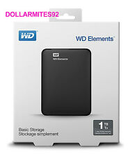 NEW Western Digital Hard Drive Elements 1TB Portable External Hard Drive USB 3.0