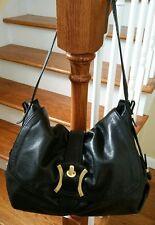B. Makowsky Large Black Brand Embossed Pebble Leather Satchel Shoulder Handbag