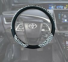 Auto Car Steering Wheel Covers Animal print - Black Pu Leather / White Leopard F