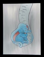 Baby Elephant Wrapped in Mothers Trunk Acrylic Painting Canvas Original Handmade