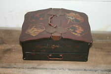 ANTIQUE CHINESE LACQUERED WOOD TEA CADDY JEWELRY DOCUMENT BOX W/ KEY JAPANESE