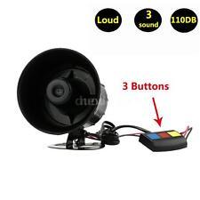 Car Loud Siren Security Horn 12V 3 Sounds Emergency Alarm Loudspeaker D7Q8