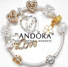 Authentic Pandora Silver Charm Bracelet GOLD LOVE HEART European Charm Beads...